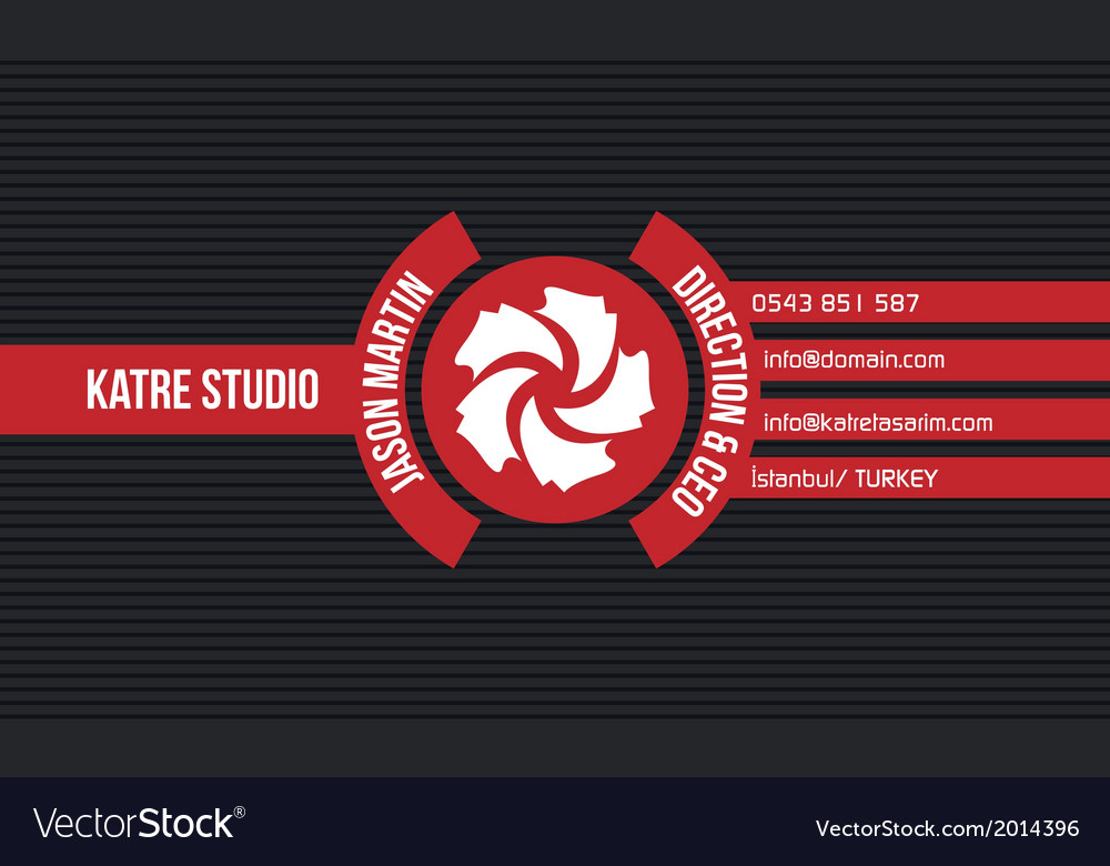 Red creative business card vector