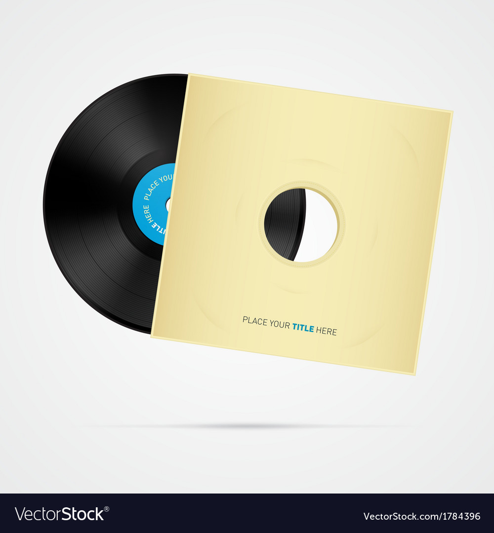 Vinyl record disc with cover vector