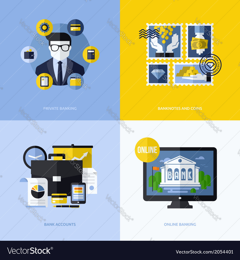 Flat design with banking symbols and icons vector