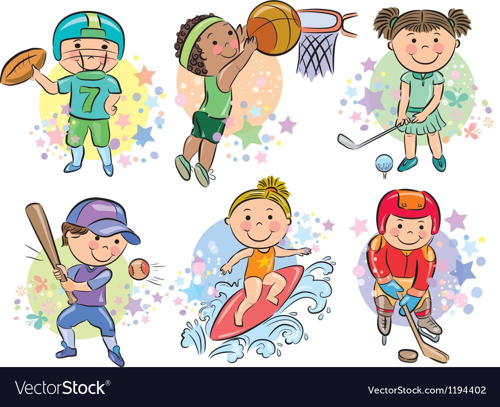 Sporting kids vector