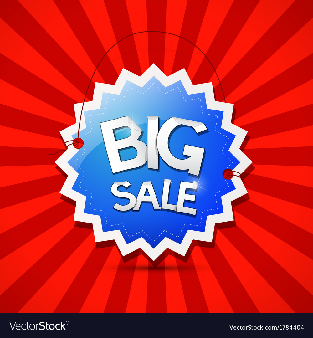 Big sale icon - blue label on red background vector
