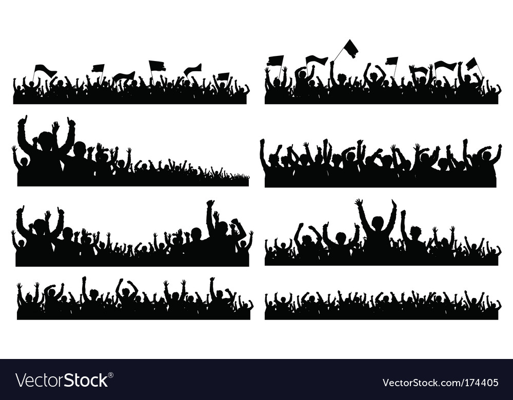 Crowd silhouettes vector
