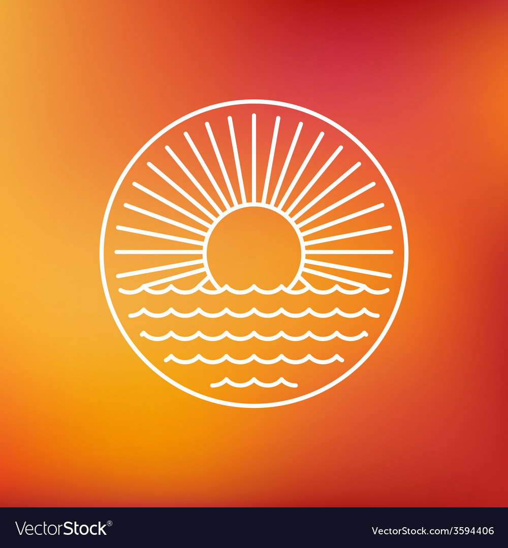 Sun emblem in outline style vector