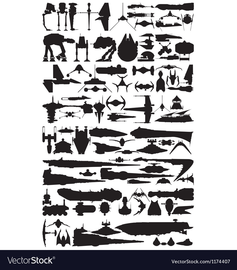 Spacecraft silhouettes vector