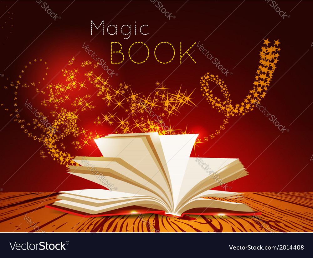 Opened book with magic light vector