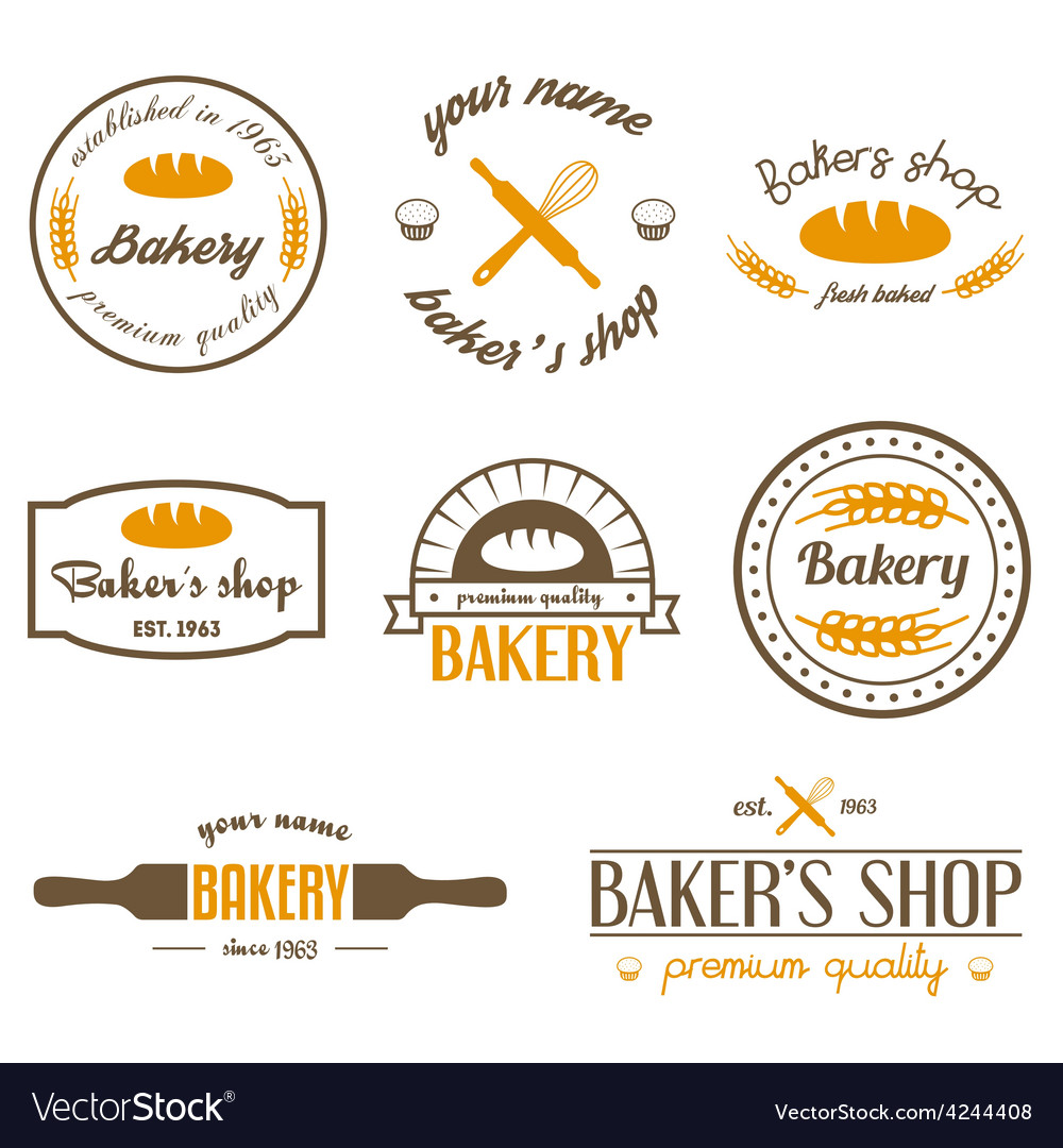 Set of vintage bakery logos labels badges and vector