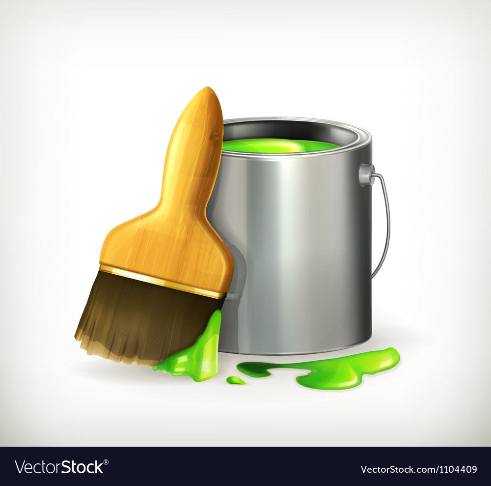 Brush and paint vector