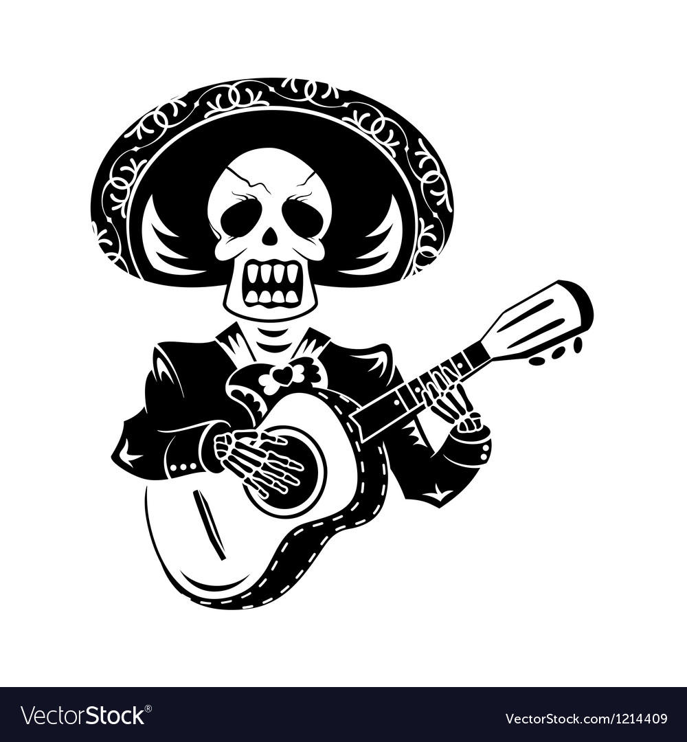 Mariachi guitar player vector