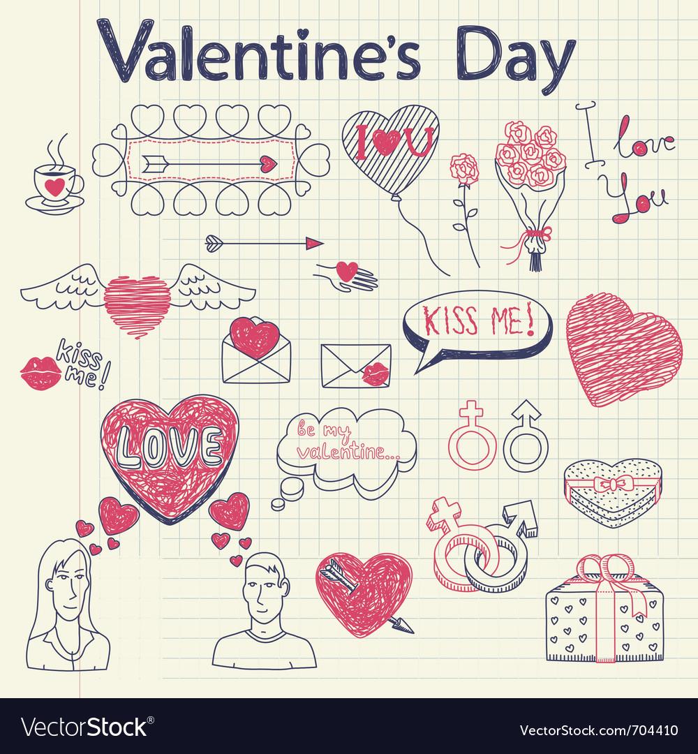 Valentine doodles set vector