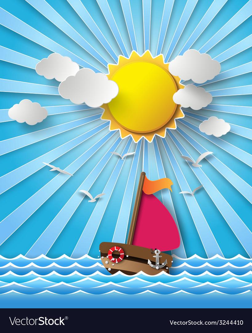 Yacht on sea with sun bream vector