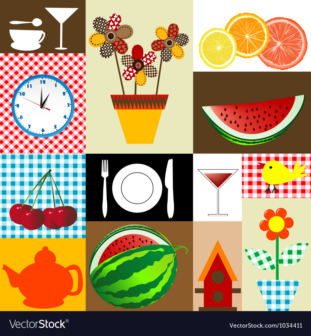 Kitchen table cloth design vector