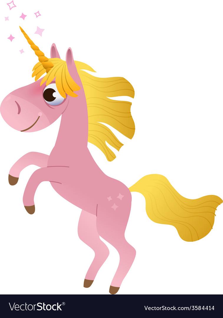Cartoon unicorn rearing up vector