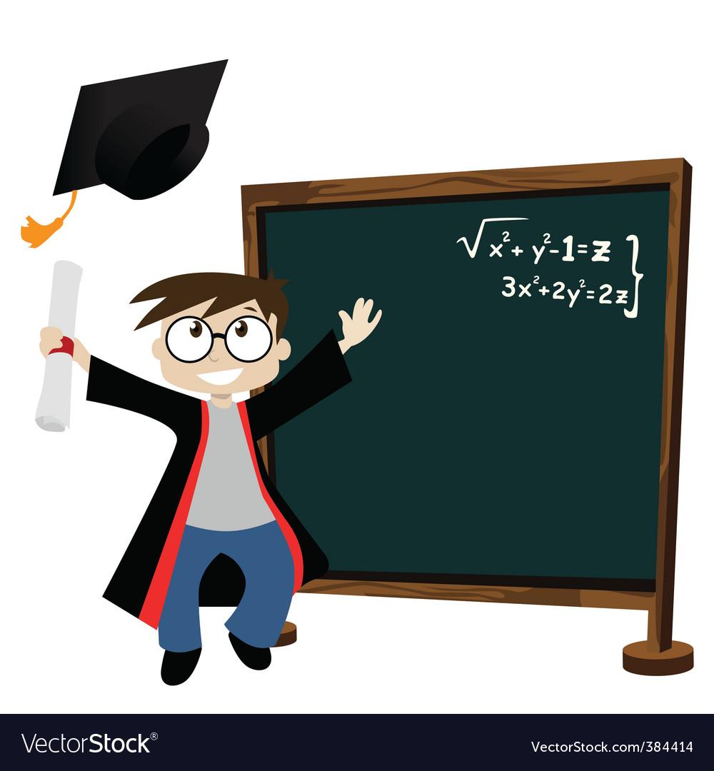 Graduate in classroom vector