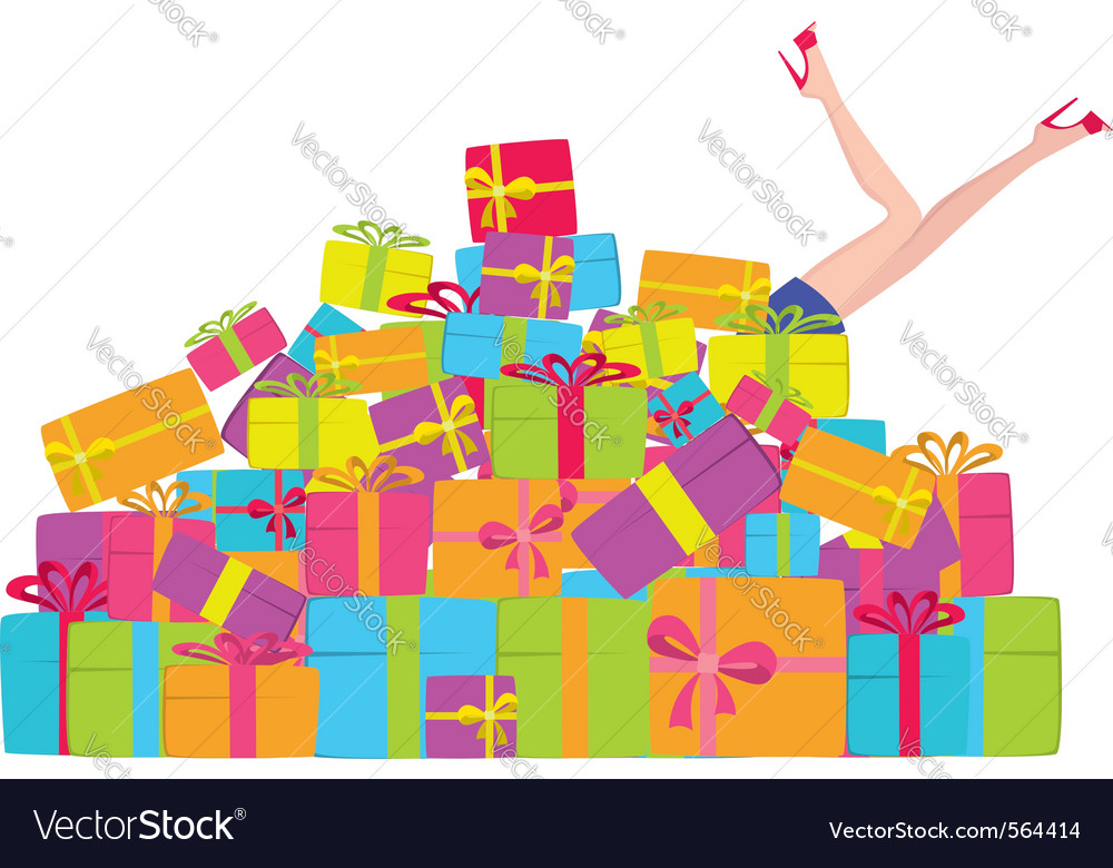 Pile of presents vector