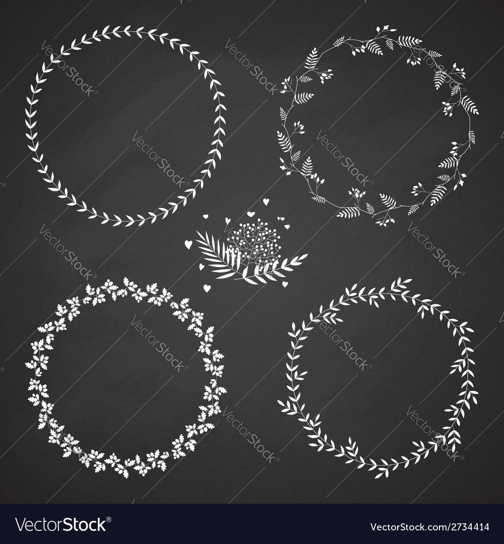 Set of 4 circle cute hand drawn frames vector