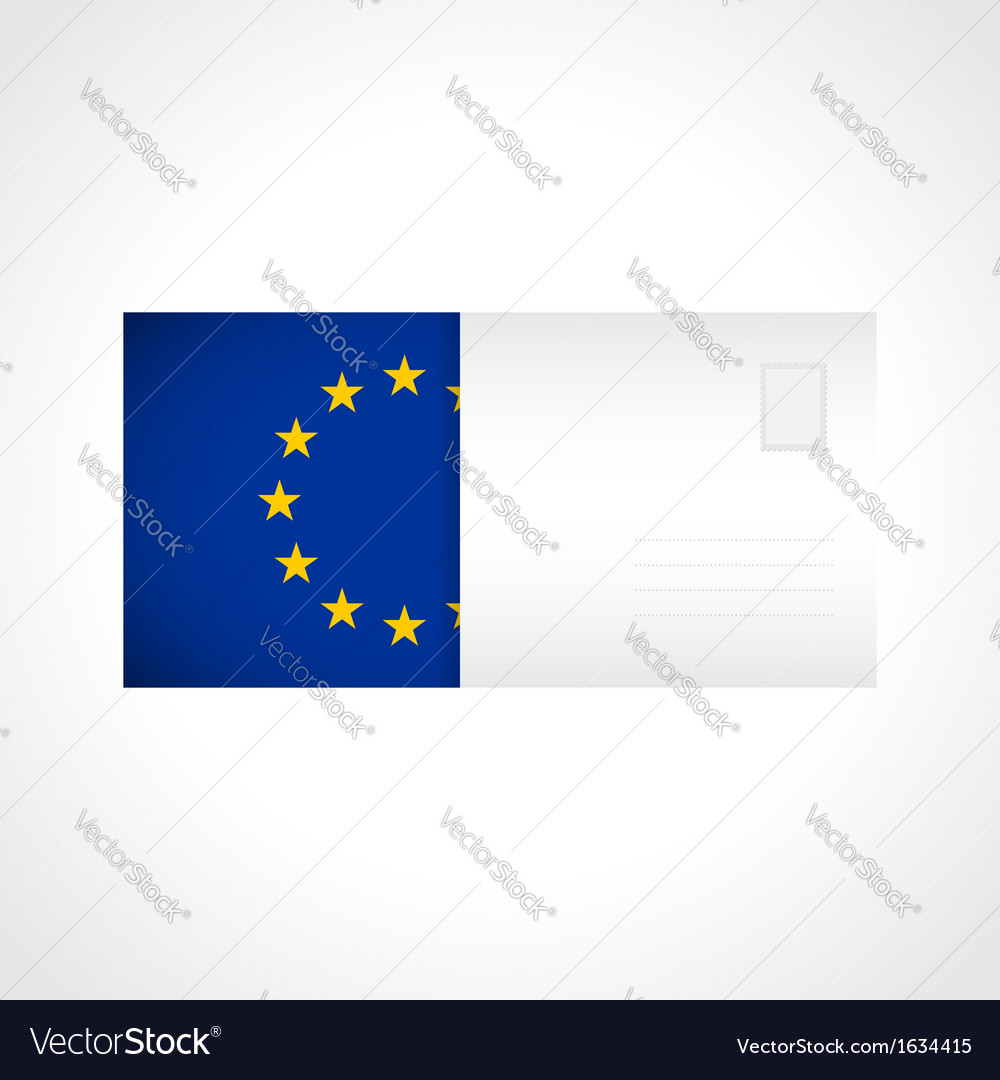 Envelope with flag of europe card vector