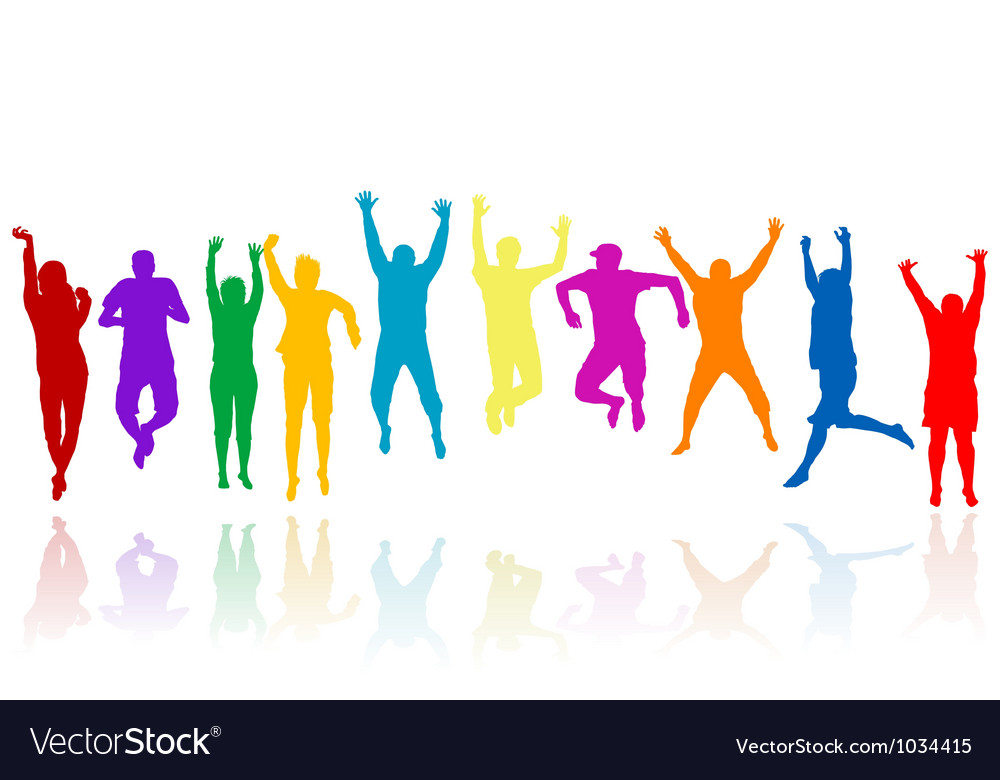Group of young people silhouettes jumping vector