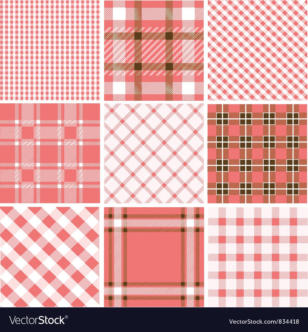 Set of plaid patterns vector