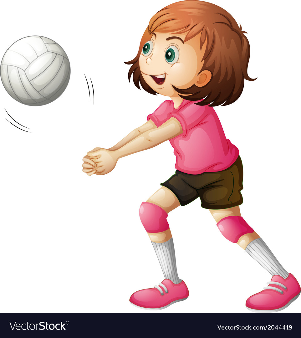 A young volleyball player vector