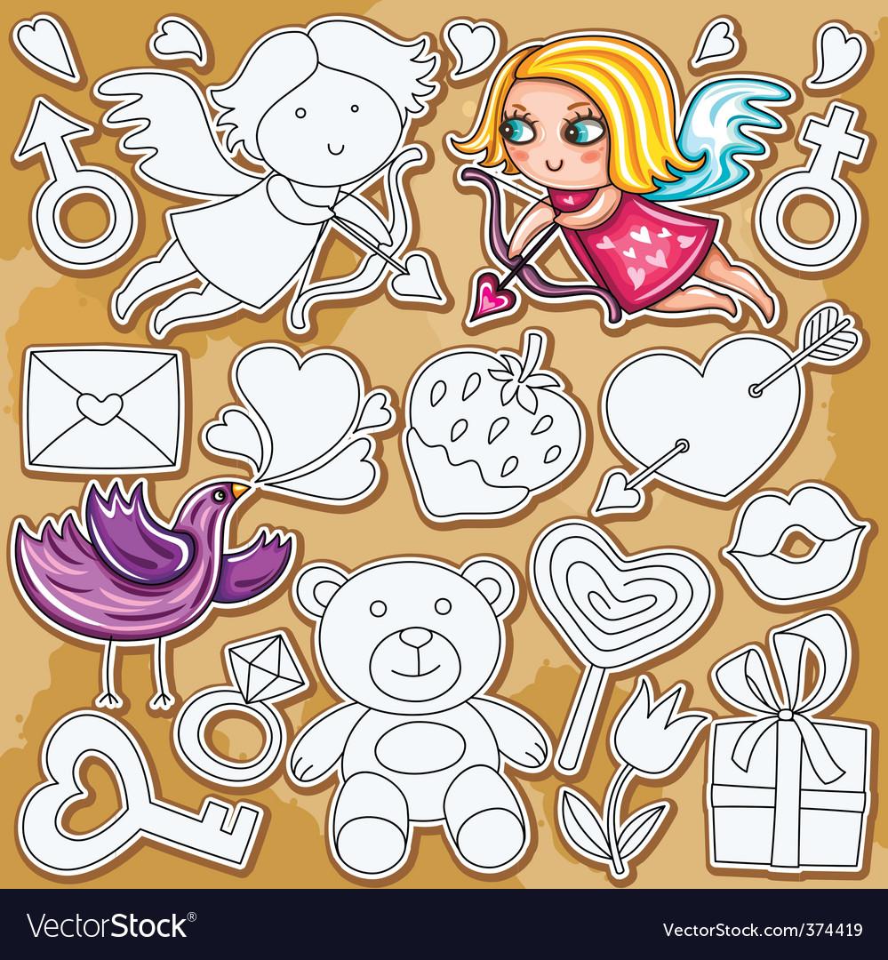 Doodle valentine's day set vector