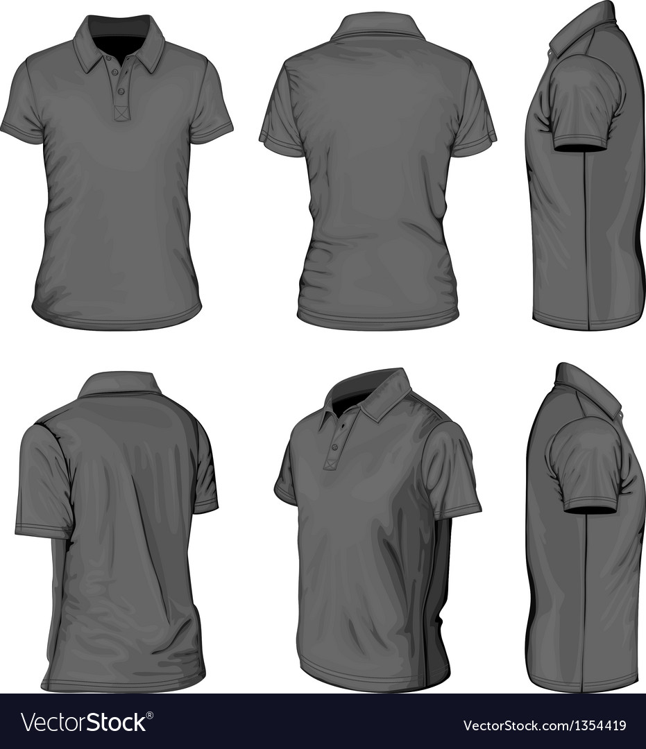 Mens black short sleeve polo-shirt vector