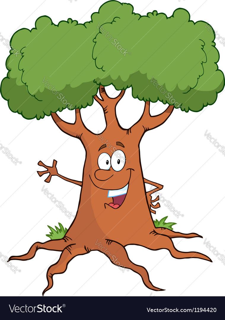Cartoon tree character waving a greeting vector