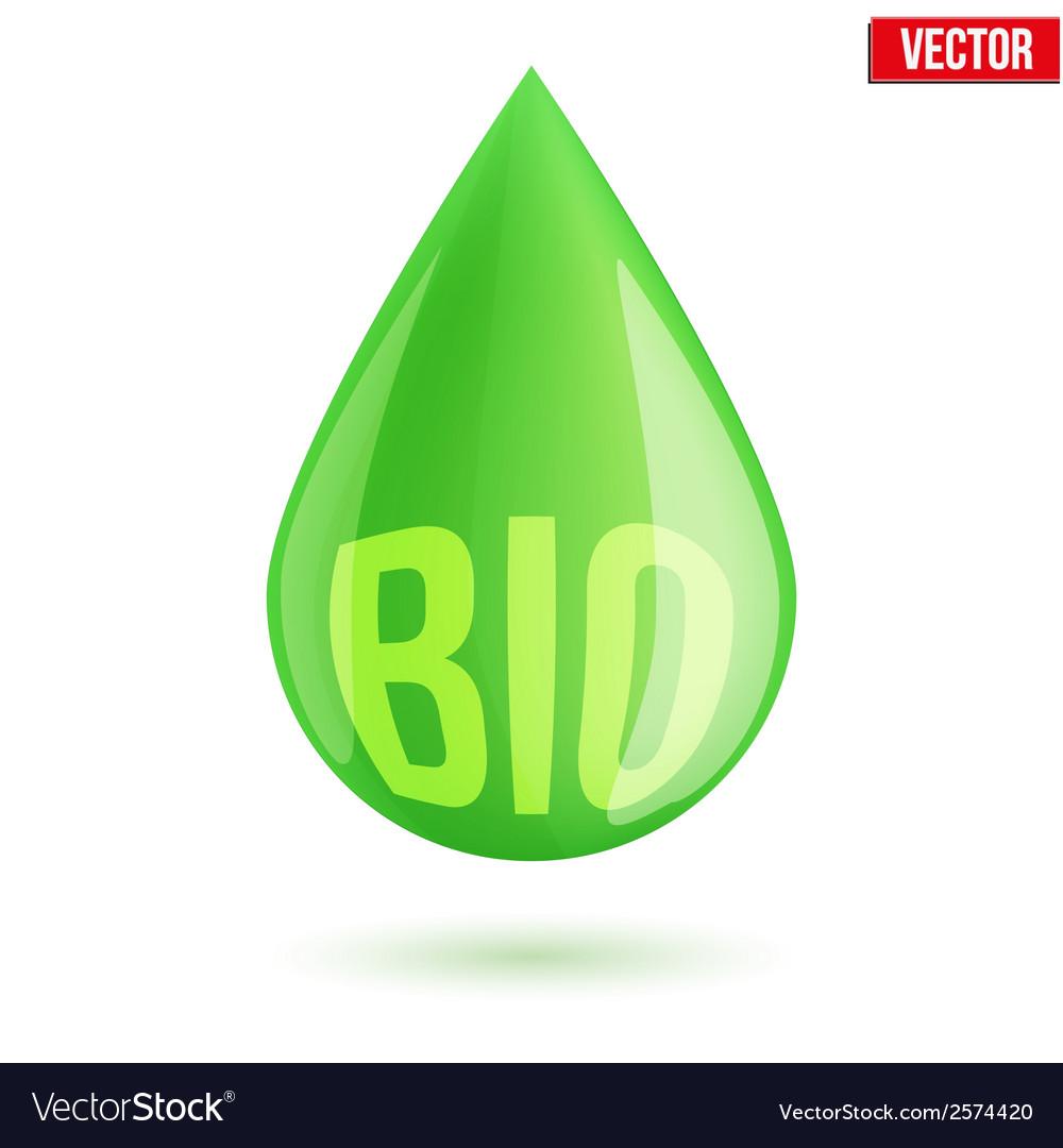 Green oil industry drop symbol vector