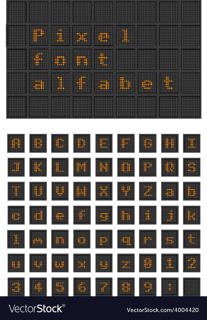 Lighting bulb pixel font alfabet vector