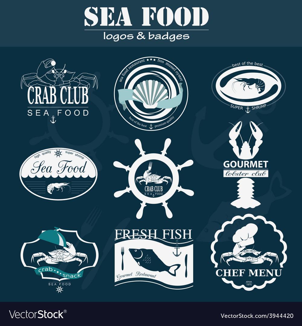 Set of vintage sea food logos logo templates and vector