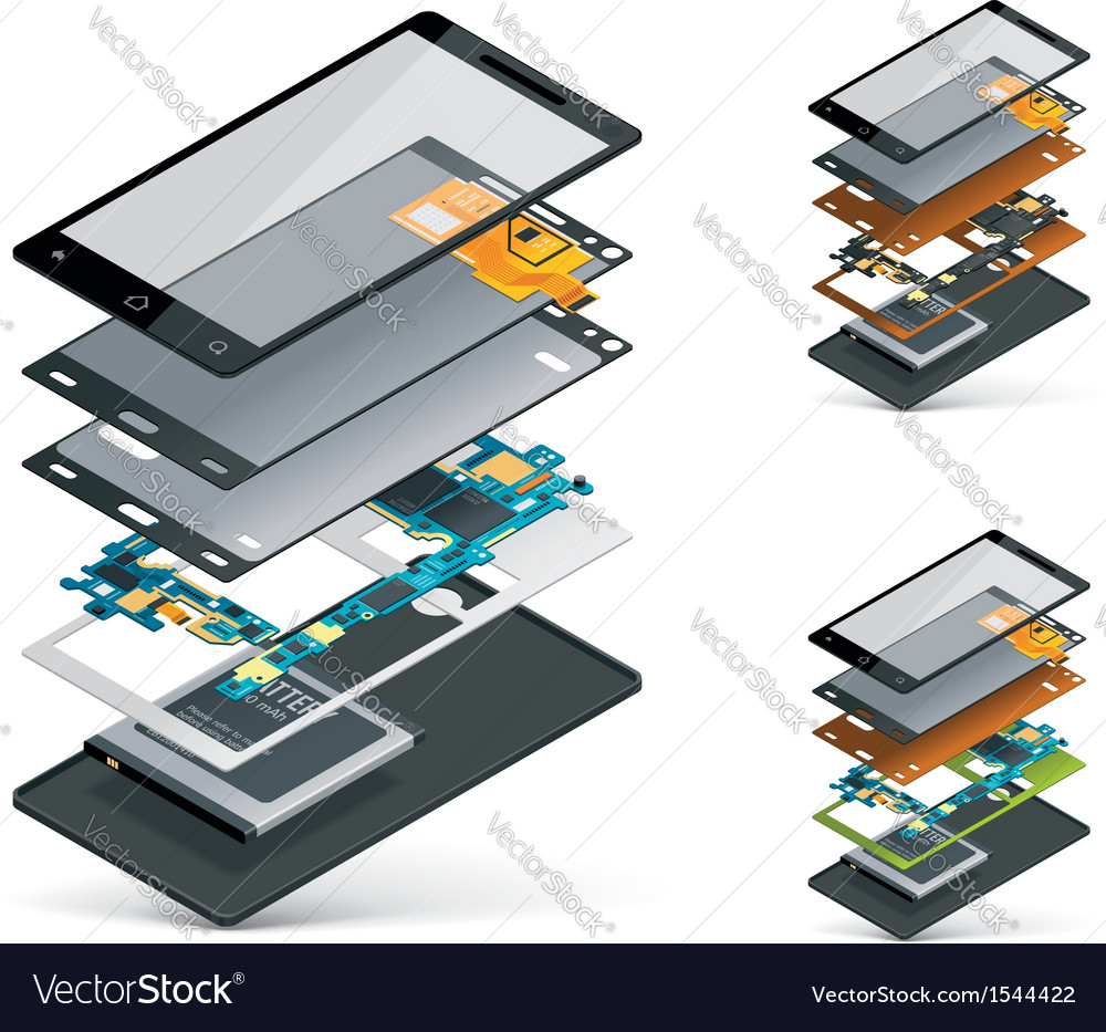 Isometric smartphone cutaway vector