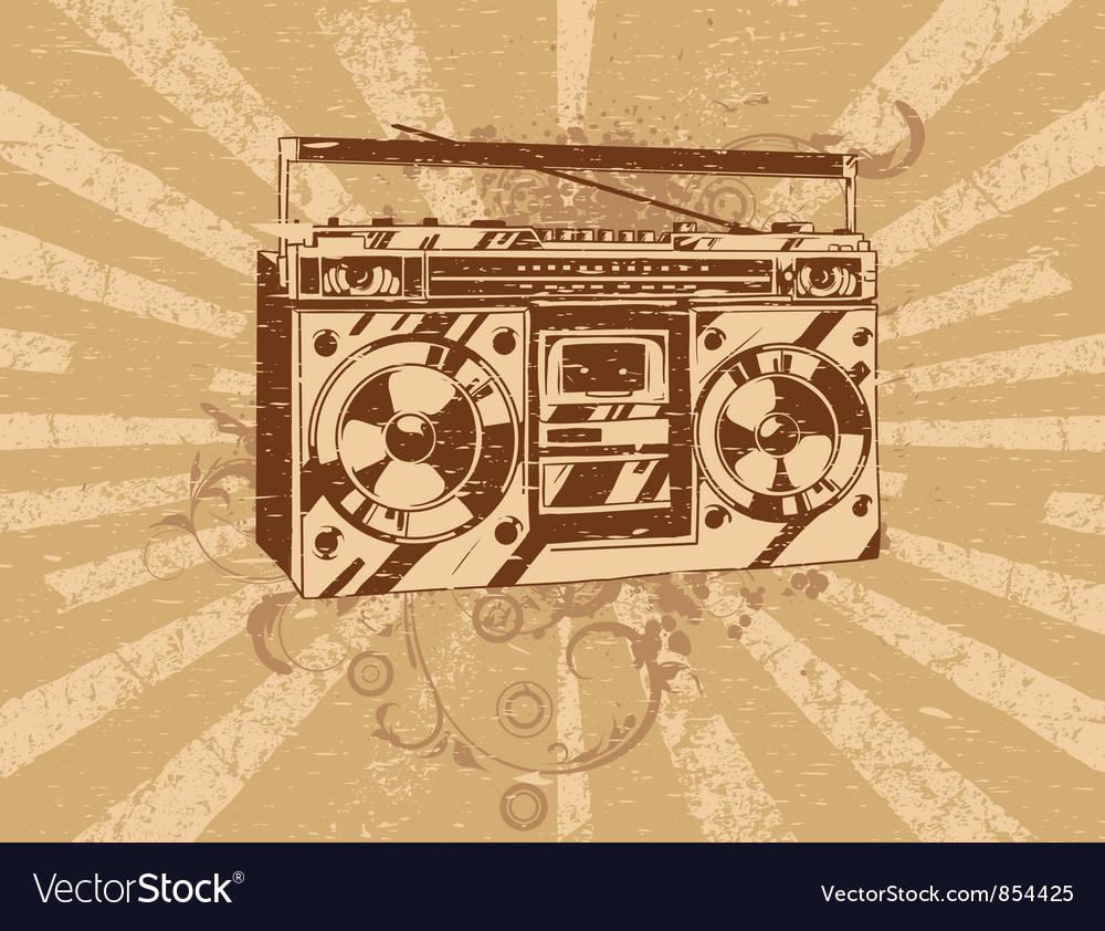 Retro ghetto blaster tape deck vector