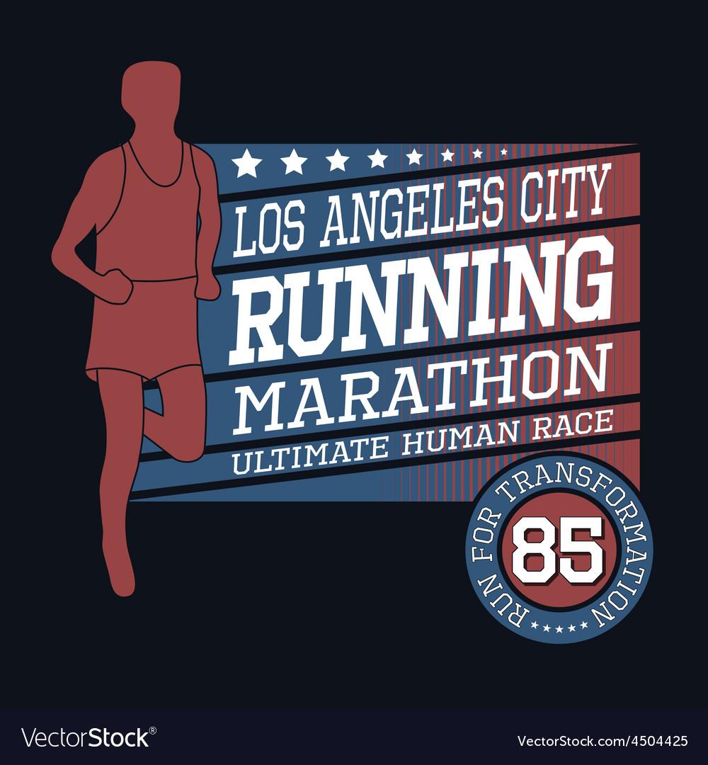 Sport running marathon t-shirt typography graphics vector