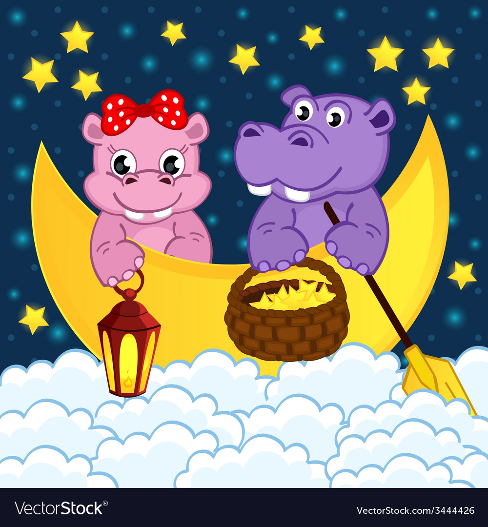 Couple of hippos float on moon in clouds vector