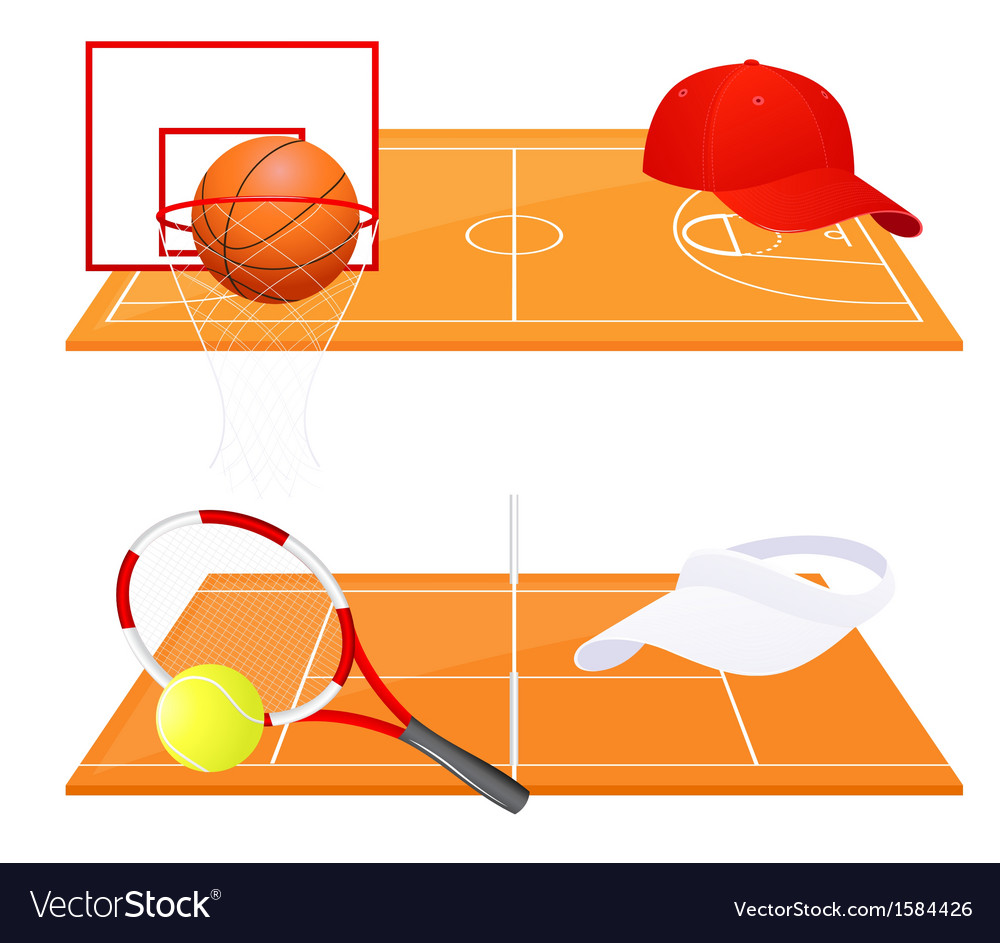 Tennis and basketball backgrounds vector