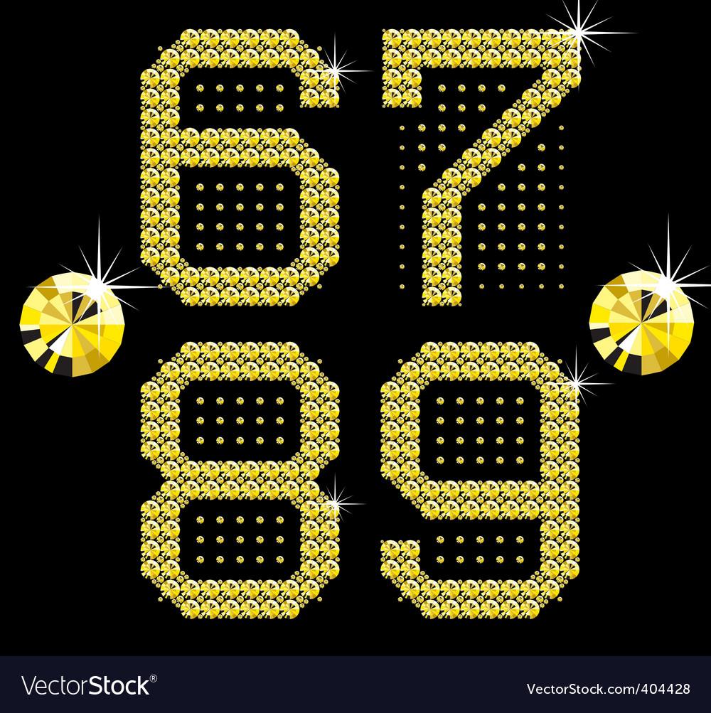 Golden digital diamond alphabet new vector
