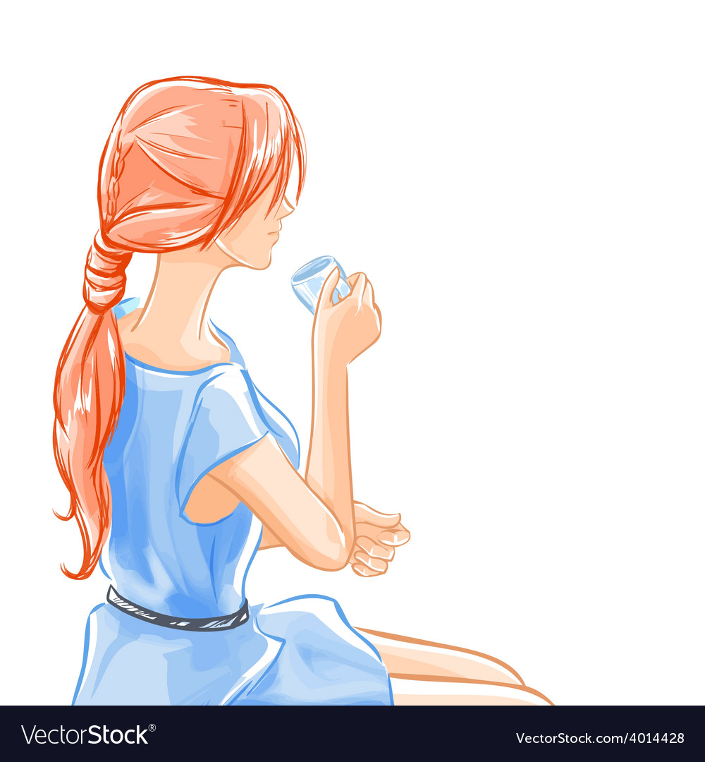 Woman sits and drinks beverage tea vector