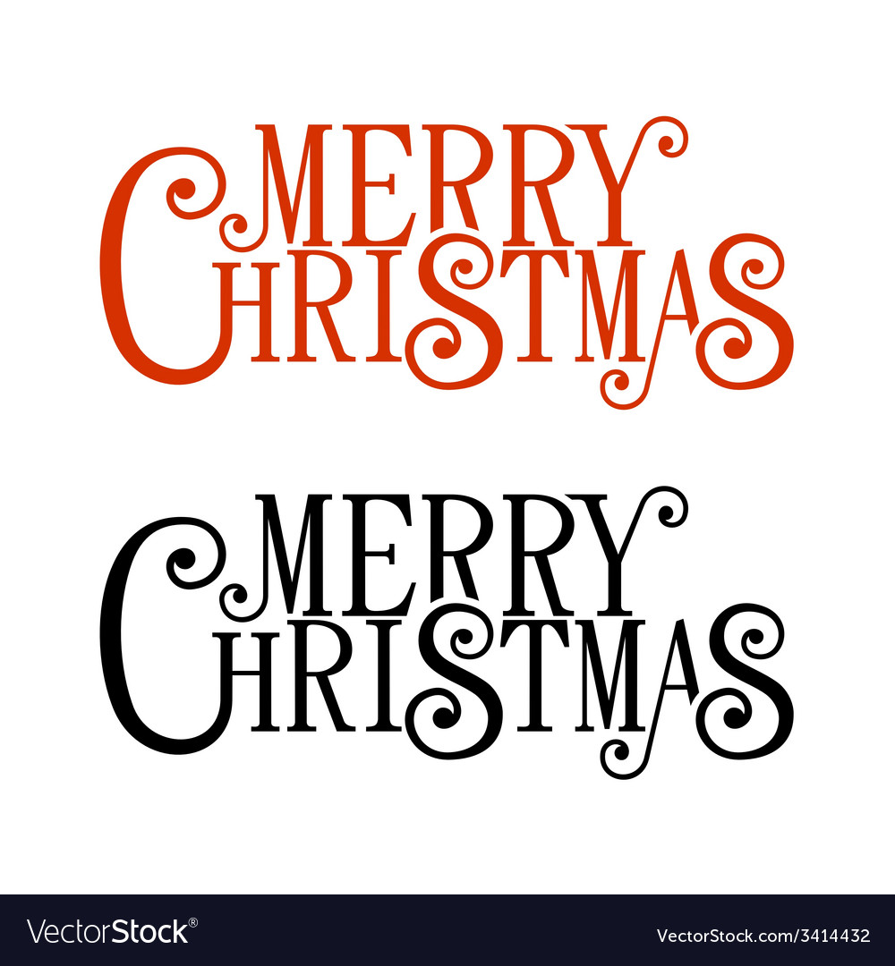 Merry christmas lettering for greeting card vector