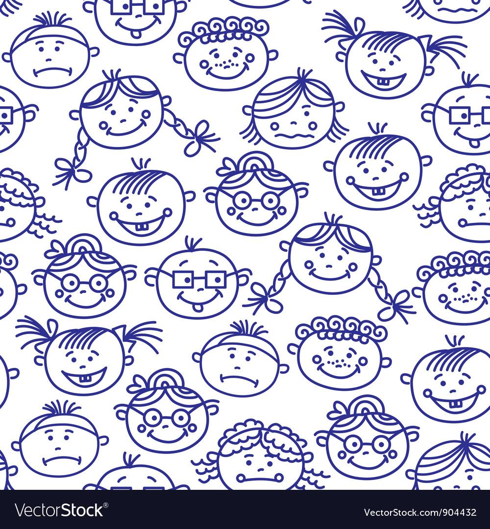 Seamless baby cartoon faces vector