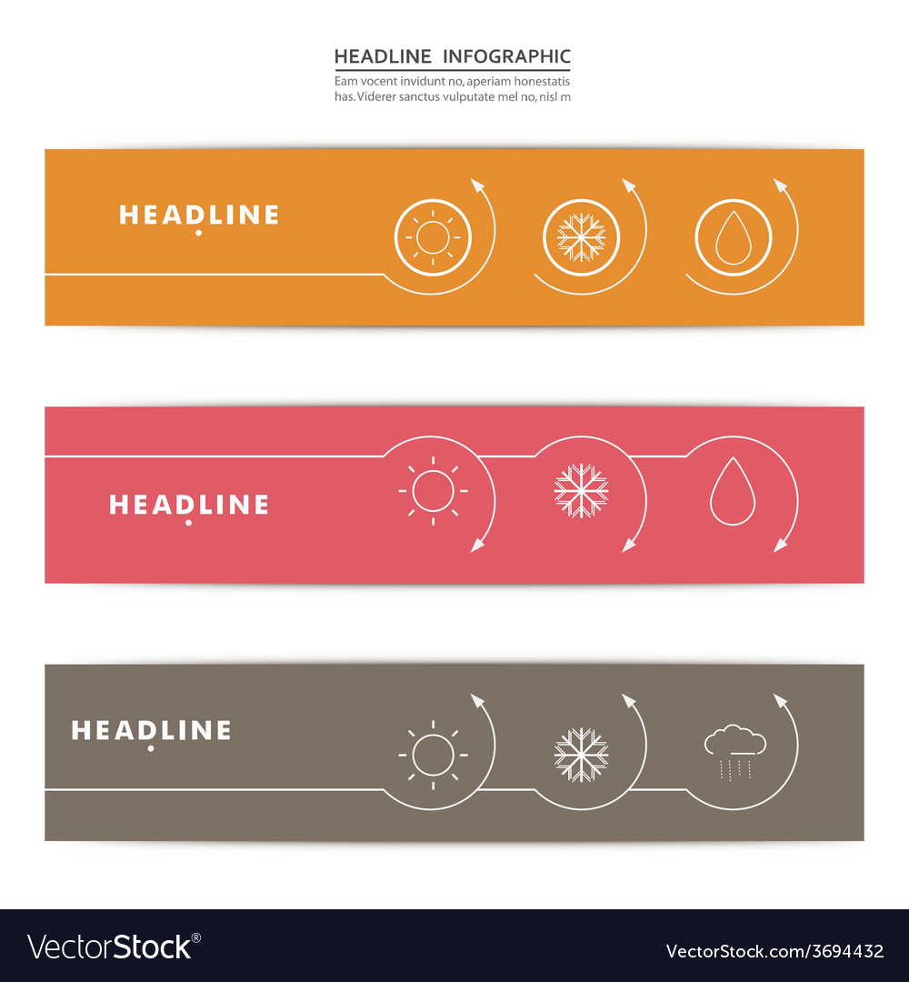 Set of banners with contour elements eps vector
