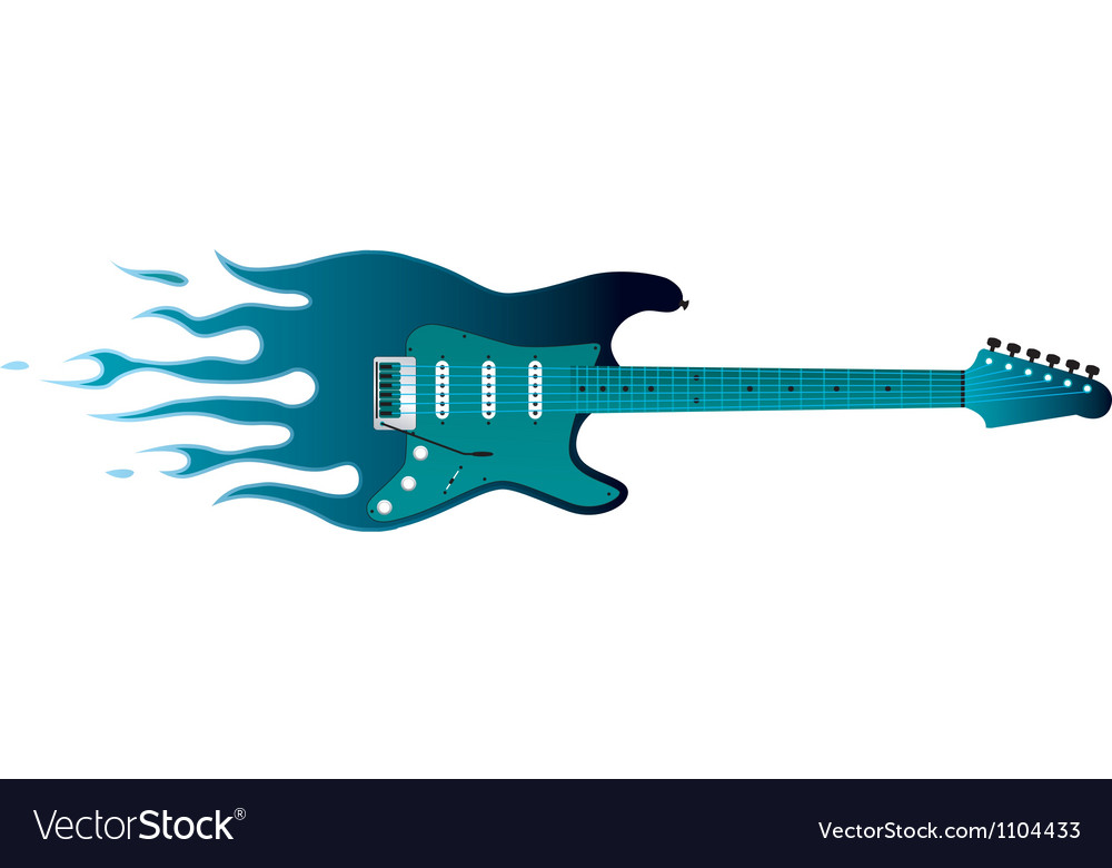 Guitar with flames vector