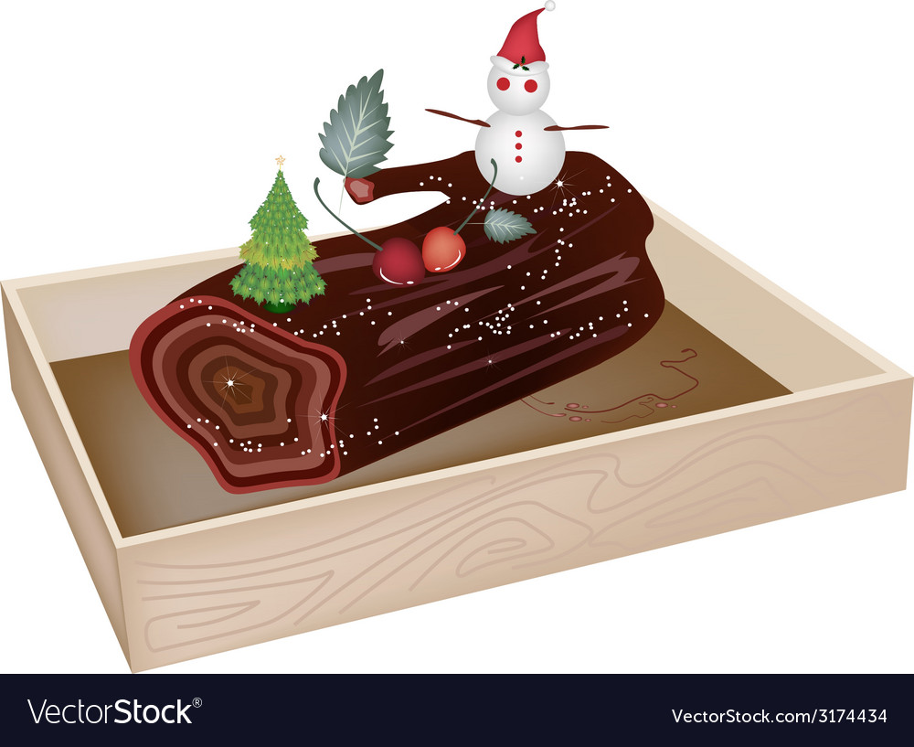 Delicious yule log cake in wooden container vector