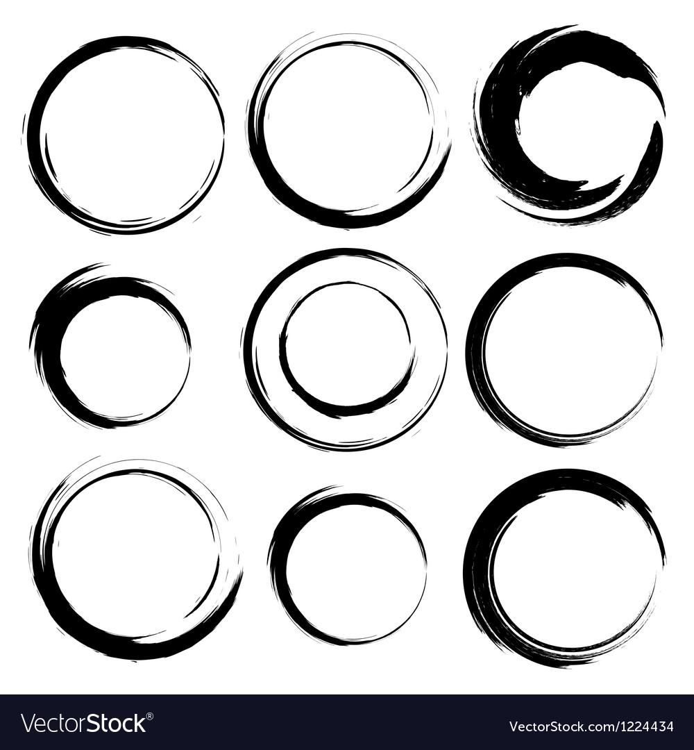 Set of grunge circle brush strokes set 4 vector