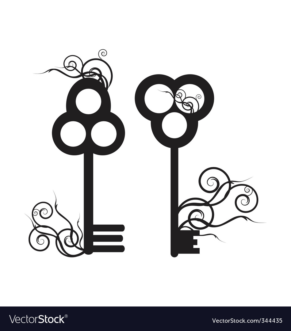 Old skeleton key vector