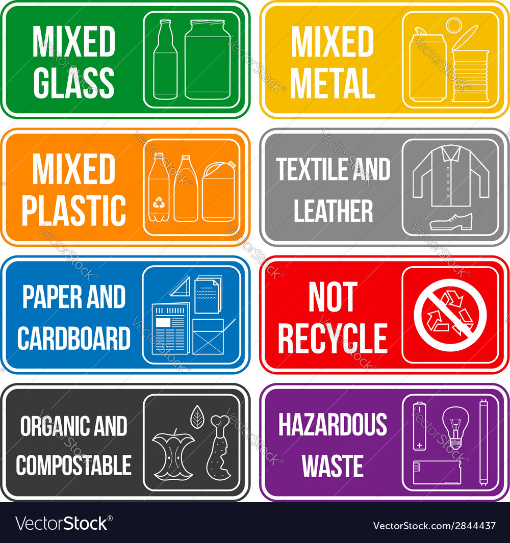 Color separated waste labels vector