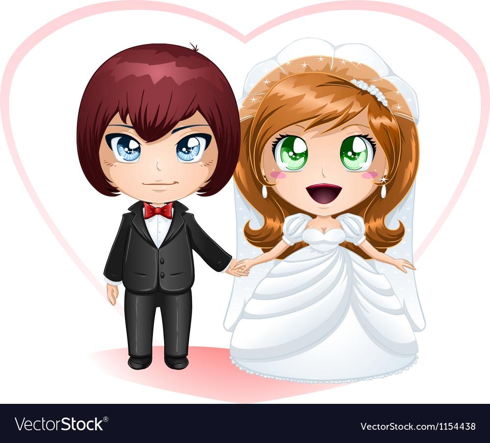 Bride and groom getting married 2 vector