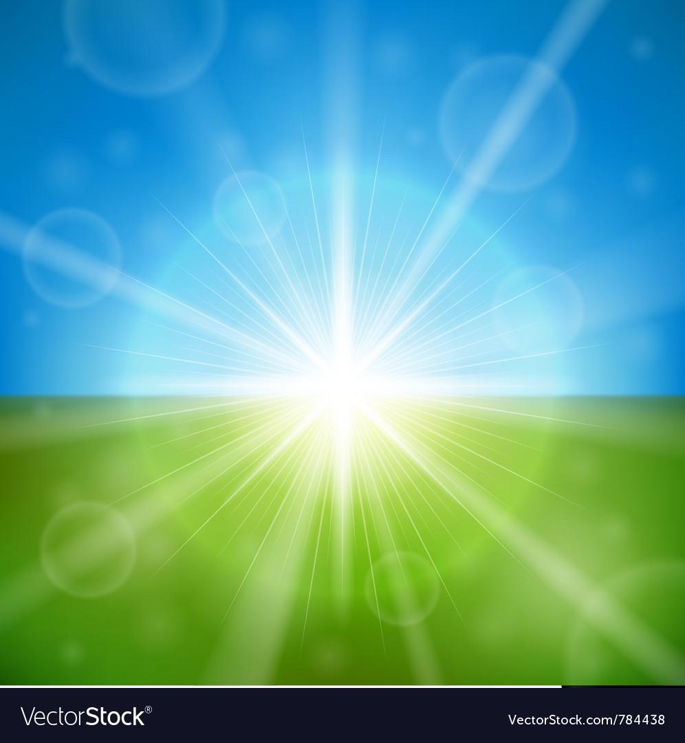 Bright summer sun vector