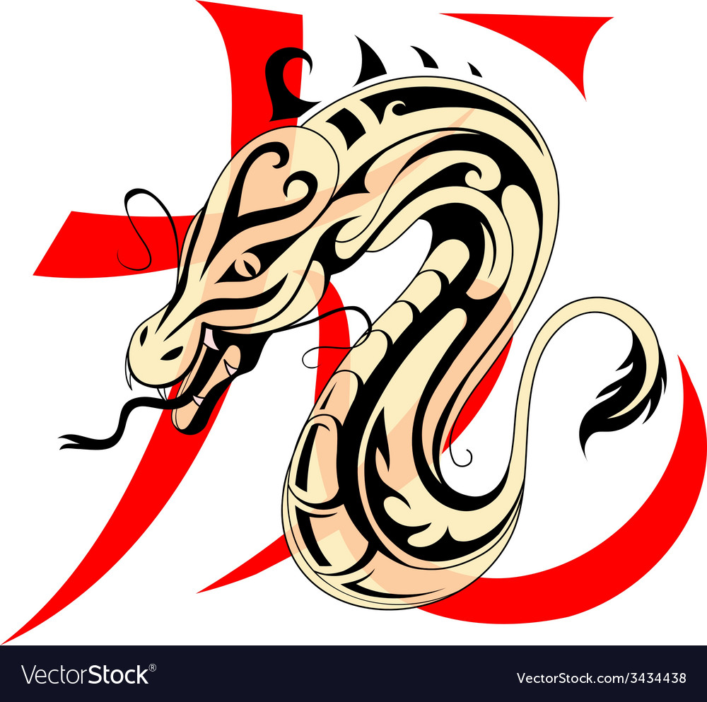 Dragon with chinese hieroglyph vector