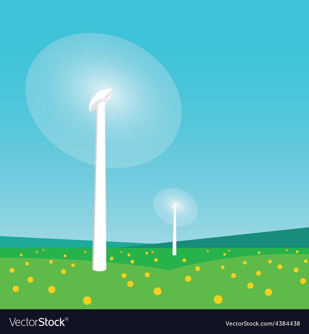 Rotating wind turbines and blue sky vector