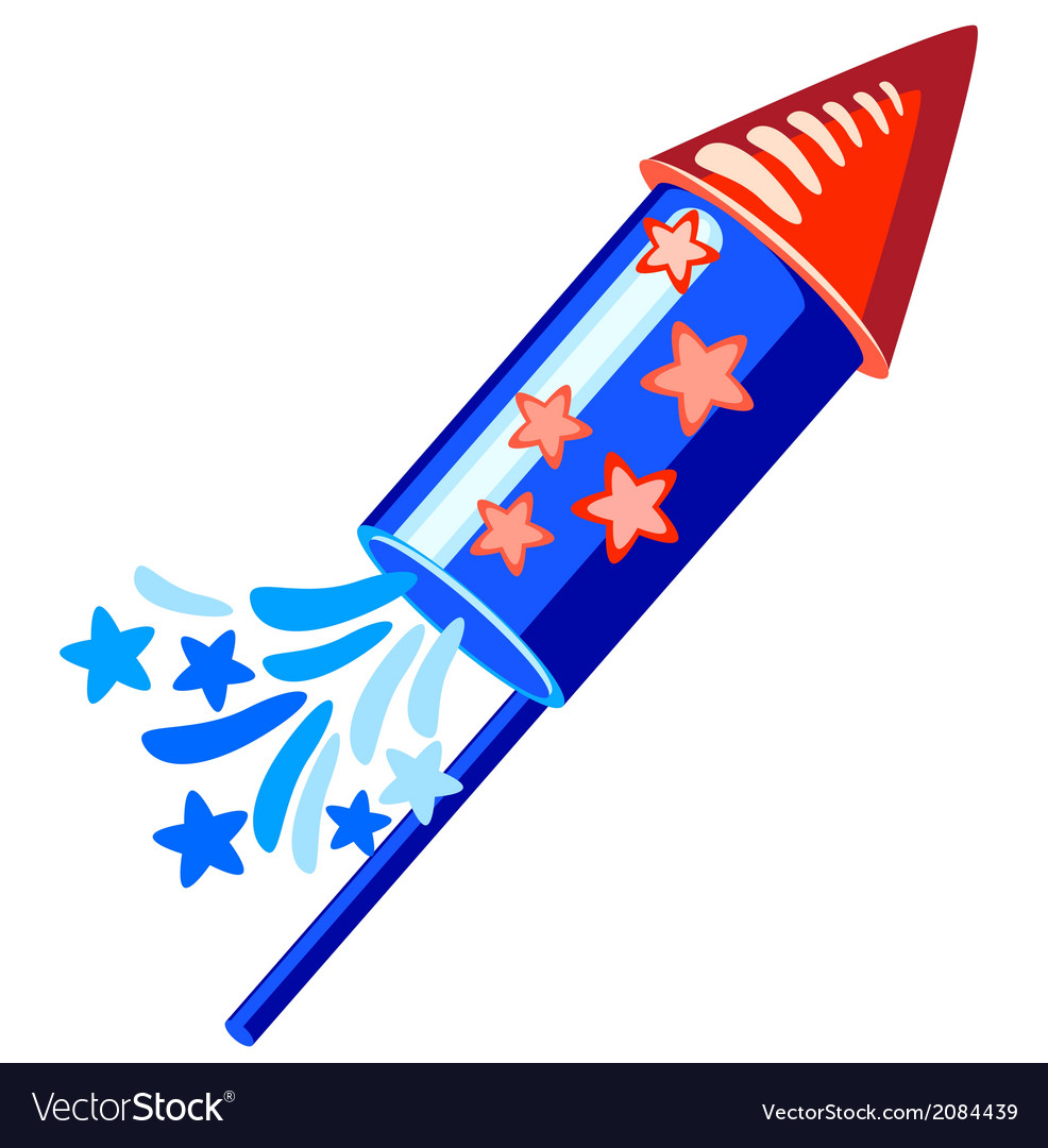 4th july blue rocket vector