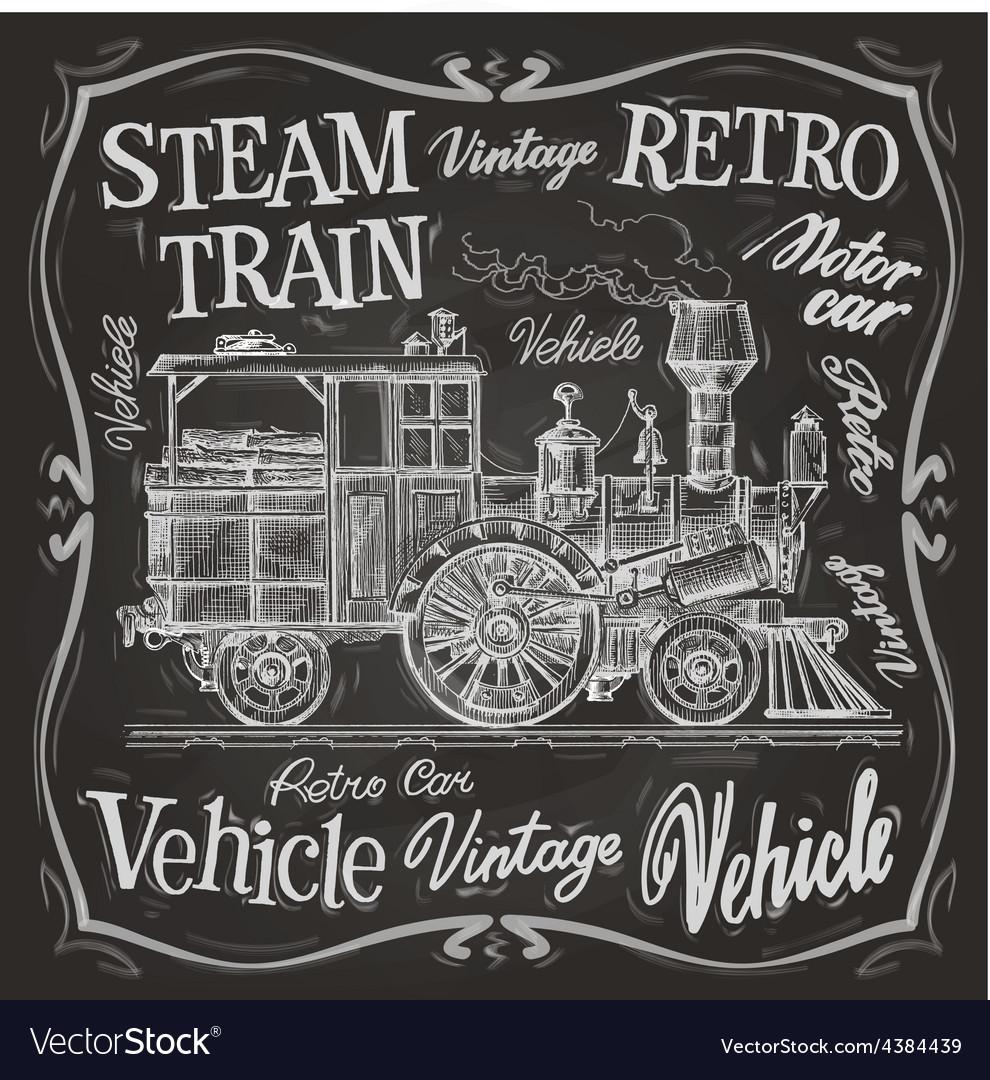 Steam train logo design template vector